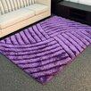 DonnieAnn Company Shaggy Purple Abstract Wave Area Rug