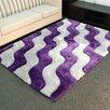 DonnieAnn Company Shaggy Purple/Ivory Abstract 2-Tone Wavy Area Rug