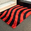 DonnieAnn Company Shaggy Red/Black Abstract 2-Tone Large Wave Area Rug