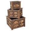 <strong>DeVaultEnterprises</strong> 3 Piece Square Wood Planter Set