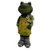<strong>Alpine</strong> Ceramic Frog with Flower Statue