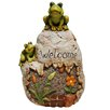 Alpine Welcome Sign Rock with Frog Garden Statue