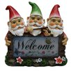Alpine Solar Gnomes with Welcome Sign Garden Statue