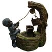 <strong>Alpine</strong> Polyresin Boy Fetching Water Sculptural Fountain