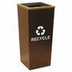 Metro Collection Recycling Receptacle, Square, Steel, 18 Gal