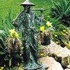 Brass Baron Serene Man Carrying Buckets Statue