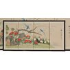 "Oriental Furniture 18"" x 36"" Birds and Flowers 4 Panel Room Divider"
