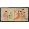 Oriental Furniture Ladies in The Afternoon 4 Panel Room Divider