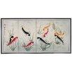 Oriental Furniture Nine Li Fish 4 Panel Room Divider