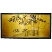 "<strong>Oriental Furniture</strong> 24"" x 48"" Gold Leaf Bamboo 4 Panel Room Divider"