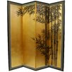 "<strong>Oriental Furniture</strong> 69.5"" x 67"" Gold Leaf Bamboo 4 Panel Room Divider"