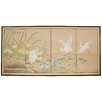 Oriental Furniture Birds on The Pond 4 Panel Room Divider