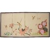 "<strong>36"" x 72"" Birds and Flowers on the Tree Silk 4 Panel Room Divider</strong> by Oriental Furniture"