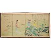 "<strong>Oriental Furniture</strong> 36"" x 72"" Ladies in The Garden 4 Panel Room Divider"