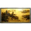 Windows To The World On Gold Leaf 4 Panel Room Divider