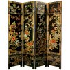 "<strong>Oriental Furniture</strong> 72"" x 64"" Four Seasons Flowers 4 Panel Room Divider"