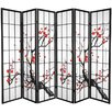 "Oriental Furniture 70.25"" x 85"" Bamboo Blossom 6 Panel Room Divider"