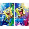 "Oriental Furniture 71"" x 47.25"" Tall Double Sided SpongeBob SquarePants 3 Panel Room Divider"