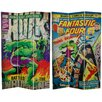 "Oriental Furniture 71"" x 47.25"" Tall Double Sided Fantastic Four / The Incredible Hulk 3 Panel Room Divider"