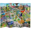"""Oriental Furniture 71"""" x 94.5"""" Tall Double Sided Springfield Town Map 6 Panel Room Divider"""