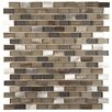 "EliteTile Commix Mini Subway 1/2"" x 1 7/8"" Brushed Aluminum and Glass Mosaic Tile in Aragon"