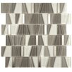 EliteTile Trapeze Random Sized Glass and Brushed Aluminum Mosaic in Gray