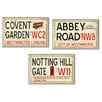 <strong>Stupell Industries</strong> Home Décor London Rail Road Stop Trio 3 Piece Textual Art Plaque Set