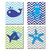 Stupell Industries The Kids Room 4 Piece Sea Creatures with Chevron Quad Wall Plaque Set