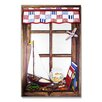 <strong>Stupell Industries</strong> Faux Window Mirror Screen with Plane and Fish Bowl Painting Print