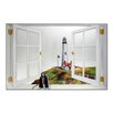 Stupell Industries Faux Window Mirror Screen with Pigeon Pointe Lighthouse Painting Print