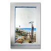 Stupell Industries Faux Window Mirror Screen with Seagull Painting Print