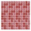 "Epoch Architectural Surfaces Iridescentz I-Red 1"" x 1"" Recycled Glass Frosted Mosaic in Red"