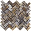 """<strong>Epoch Architectural Surfaces</strong> Scabos 12"""" x 12"""" Tumbled Travertine Herringbone Mosaic in Multi"""