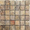 "Epoch Architectural Surfaces Scabos 1"" x 1"" Tumbled Travertine Mosaic in Multi"