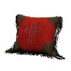 HiEnd Accents Cross Studded Pillow with Fringe