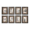 Creative Co-Op Wood and MDF Botanical with Burlap Picture Frame Set (Set of 8)