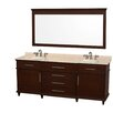 "Wyndham Collection Berkeley 80"" Double Bathroom Vanity Set with Mirror"