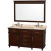 "Wyndham Collection Berkeley 60"" Double Bathroom Vanity Set with Mirror"