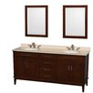 "Wyndham Collection Hatton 72"" Double Bathroom Vanity Set with Mirror"
