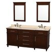 "Wyndham Collection Berkeley 72"" Double Bathroom Vanity Set with Mirror"