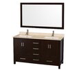 """Wyndham Collection Sheffield 60"""" Double Bathroom Vanity Set with Mirror"""
