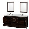 """Wyndham Collection Sheffield 72"""" Doule Bathroom Vanity Set with Mirror"""
