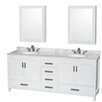 """Wyndham Collection Sheffield 80"""" Double Bathroom Vanity Set with Mirror"""