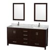 "Wyndham Collection Sheffield 72"" Bathroom Vanity Set with Double Sink"