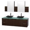 "Wyndham Collection Amare 72"" Double Bathroom Vanity Set with Mirror"