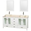 """Wyndham Collection Lucy Pyra 72"""" Double Bathroom Vanity Set with Mirror"""