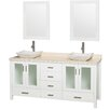 "Wyndham Collection Lucy Avalon 72"" Double Bathroom Vanity Set with Mirror"