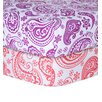 Trend Lab Orchid and Coral Paisley Print Flannel 2 Piece Crib Sheet Set