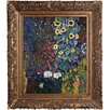 Tori Home Farm Garden with Sunflowers by Klimt Framed Hand Painted Oil on Canvas