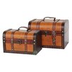 <strong>Decorative Leather Treasure Box (2 Piece Set)</strong> by Quickway Imports